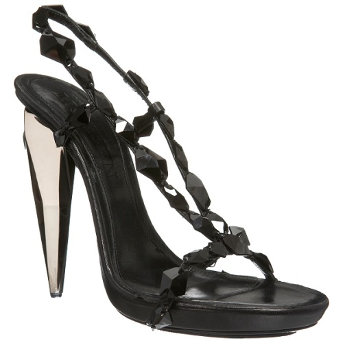 Black Crystal Heel Sandal