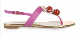 Flat Sandals With Cherry Beads