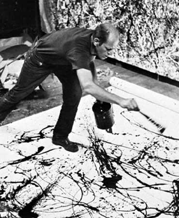 Jackson Pollock en su estudio de Long Island (New York) en 1950. Foto de Hans Namuth
